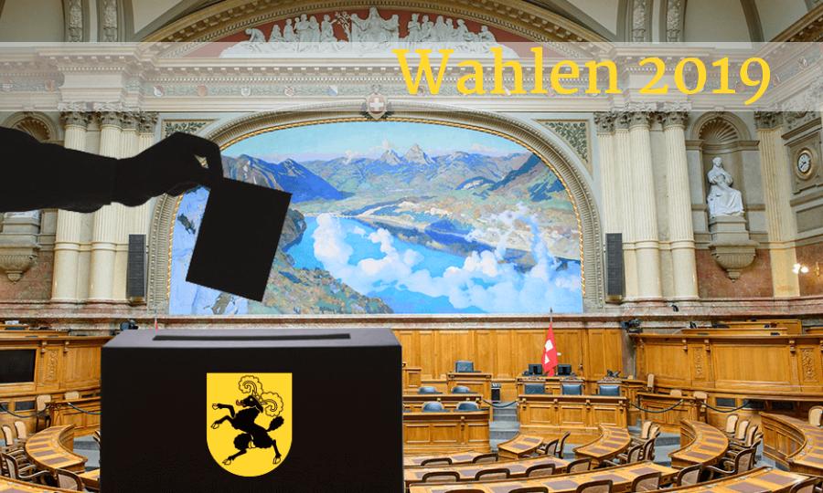 Bildmontage: der Schatten einer Hand wirft Abstimmungsunterlagen in eine Wahlurne mit Schaffhauser Wappen. Dahinter der Nationalratssaal der Schweiz