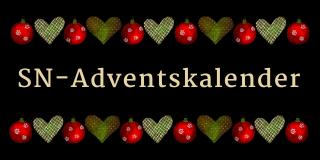 in goldiger schrift steht «SN-Adventskalender» vor schwarzem Hintergrund. Darüber und darunter Weihnachtskugeln und Herzen in grün und rot.