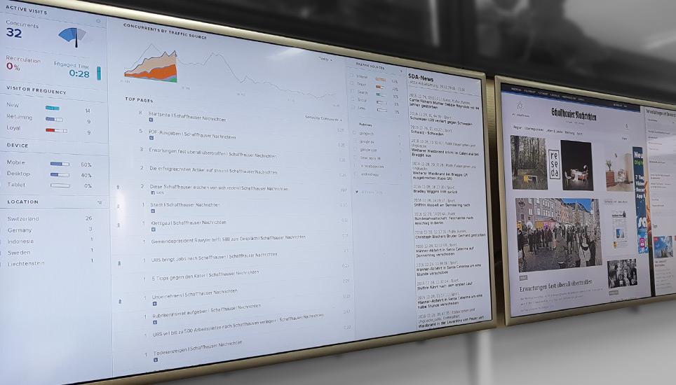 Analyse-Bildschirm im Newsroom der Schaffhauser Nachrichten. Bild: PH